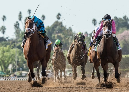 Roy H and jockey Kent Desormeaux, left, outleg Mr. Hinx (Drayden Van Dyke), right, to win the G1, $300,000 Santa Anita Sprint Championship, Saturday, October 7, 2017 at Santa Anita Park, Arcadia CA.