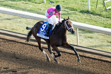 Heavenly Love with Julien Leparoux up won the Darley Alcibiades G1 at Keeneland on , Friday Oct. 6, 2017  in Lexington, Ky.