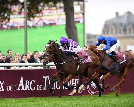 Happily (IRE) wins the Qatar Prix Jean-Luc Lagardere (G1) at Chantilly Race Course.