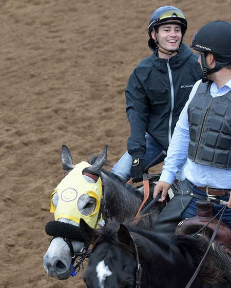 Flavien Prat smiles after his work on Curlin's Approval Breeders' Cup horses on track at Del Mar racetrack on Oct. 29, 2017 Del Mar Thoroughbred Club in Del Mar, CA.