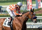Kent Desormeaux pilots Top of the Game to victory in the Comma to the Top Stakes at Santa Anita Park