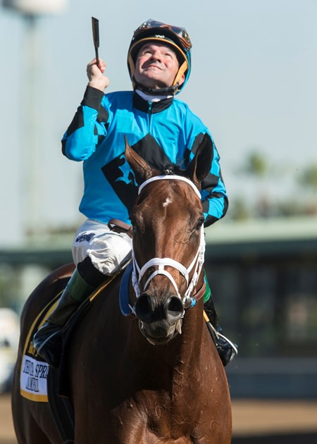 Jockey Kent Desormeaux guides Roy H to the winner's circle after their victory in the G1, $300,000 Santa Anita Sprint Championship, Saturday, October 7, 2017 at Santa Anita Park, Arcadia CA.