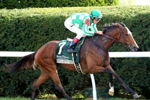 Apple Betty wins the 1 1/2-mile Dowager Stakes at Keeneland by 3 1/2 lengths