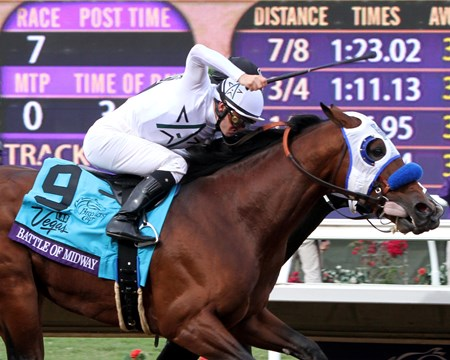 Battle of Midway with Flavien Prat win the Breeders' Cup Dirt Mile at Del Mar on November 3, 2017.