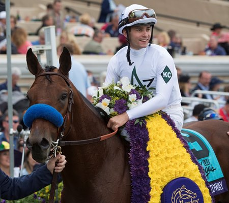 Flavien Prat (shown aboard Breeders' Cup Dirt Mile winner Battle of Midway) will represent the United States Dec. 6 in the International Jockeys' Championship in Hong Kong