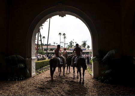 Outriders gather before the Marathon Stakes (G II) on Breeders' Cup Day at Del Mar on November 3, 2017