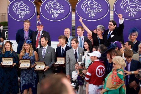 Connections of Gun Runner after winning the Breeders Cup Classic on November 4, 2017
