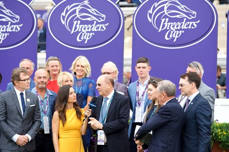 Connections of Mendelssohn celebrate winning the Breeders Cup Juvenile Turf on November 3, 2017.