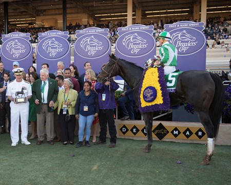 Bar of Gold wins the Breeders Cup Filly and Mare Sprint on November 4, 2017