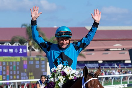 Kent Desormeaux celebrates winning the Breeders Cup Sprint atop Roy H on November 4, 2017.