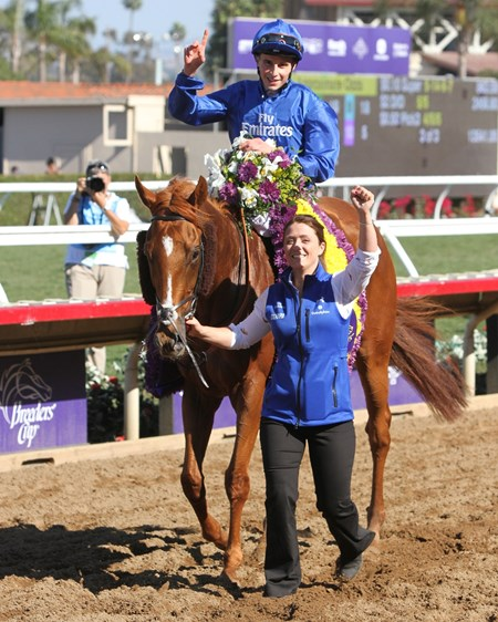 Wuheida with William Buick after winning the Breeders' Cup Filly & Mare Turf at Del Mar on November 4, 2017