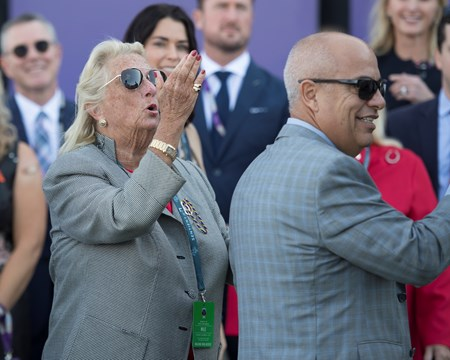 owner Charlotte Weber blowing kiss to horse World Approval wins the Breeders Cup Mile on November 4, 2017