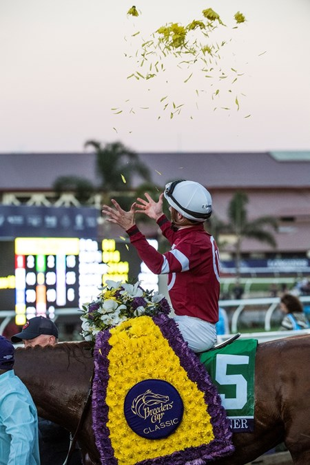 Gun Runner wins the 2017 Breeders' Cup Classic with jockey Florent Geroux
