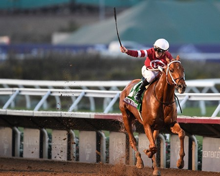 Gun Runner, Florent Geroux up, wins the $6 million Breeders' Cup Classic (G1)