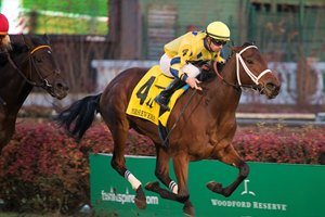 Lovely Bernadette takes flight en route to victory in the Mrs. Revere Stakes at Churchill Downs