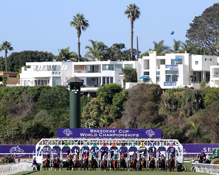 Breeders' Cup Filly & Mare Turf start at Del Mar on November 4, 2017.