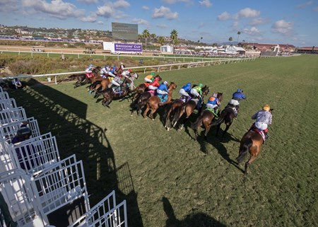Field leaving the gate in the Breeders Cup Mile at Del Mar on November 3rd 2017