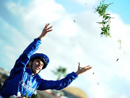 William Buick celebrating his win in the Breeders' Cup Filly & Mare Turf