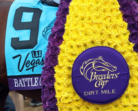 Battle of Midway wins the Breeders' Cup Dirt Mile at Del Mar on November 3, 2017.