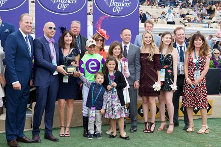 Connections of Rushing Fall celebrate wining the Breeders Cup Juvenile Fillies Turf at Del Mar on November 3, 2017.