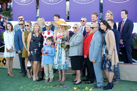 Connections of World Approval celebrate after winning the Breeders Cup Mile on November 4, 2017.