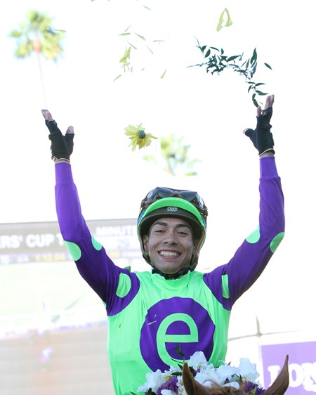 Jose Ortiz celebrates after winning the Breeders' Cup Juvenile aboard Good Magic at Del Mar on November 4, 2017.