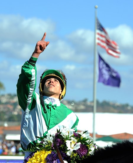 Irad Ortiz Jr. after winning the Breeders' Cup Filly & Mare Sprint with 60-1 longshot Bar of Gold