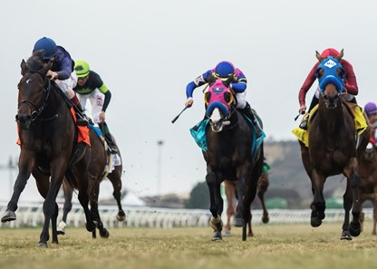 Mo Town and jockey John Velazquez, left, overpower Big Score (Flavien Prat), second from left, Sharp Samurai (Gary Stevens), right, to win the G1T, $300,000 Hollywood Derby, Saturday, November 25, 2017 at Del Mar Thoroughbred Club, Del Mar CA.