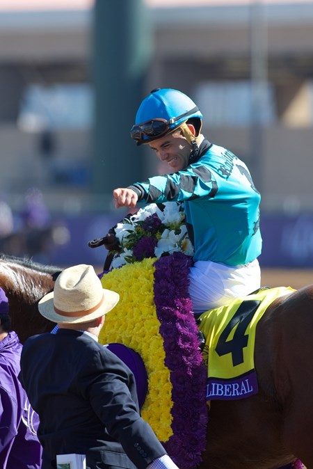 Joel Rosario celebrates winning the Breeders Cup Turf Sprint atop Stormy Liberal on November 4, 2017.