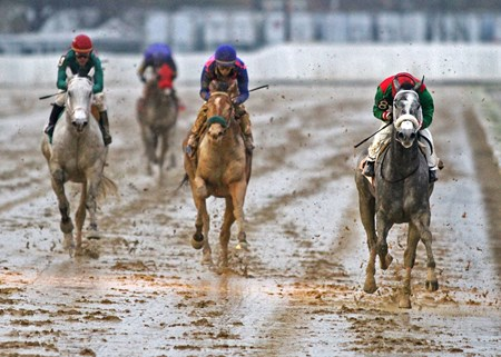 Goneghost winning the Buck's Boy Handicap at Hawthorne Racecourse on 11/4/17.  Victor Santiago up.