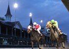 Tricky Escape (inside) wins the Cardinal Handicap over Fair Point at Churchill Downs