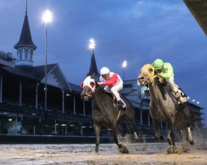 Trick Escape (inside) wins the Cardinal Handicap over Fair Point at Churchill Downs