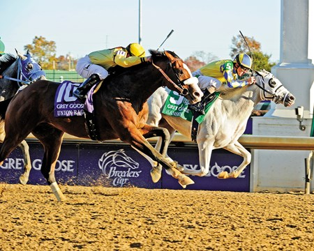 Caption: Hansen on rail wins with favorite Union Rags in second Hansen with Ramon Dominguez wins the Grey Goose Breeders' Cup Juvenile  at Churchill Downs in Louisville, Ky. on Nov. 5, 2011 Marathon  image062 Photo by Anne M. Eberhardt