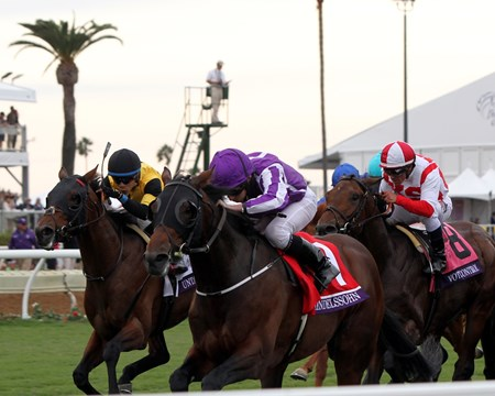 Mendelssohn with Ryan Moore win the Breeders' Cup Juvenile Turf at Del Mar on November 3, 2017.