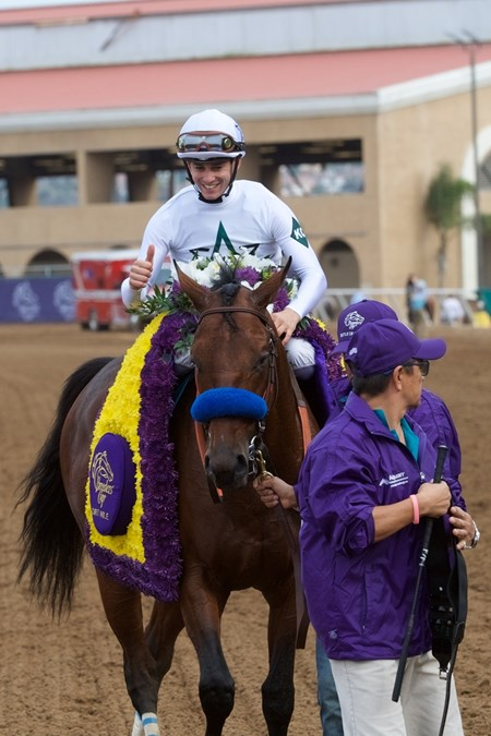 Battle of Midway wins the Breeders Cup Dirt Mile on November 3, 2017.