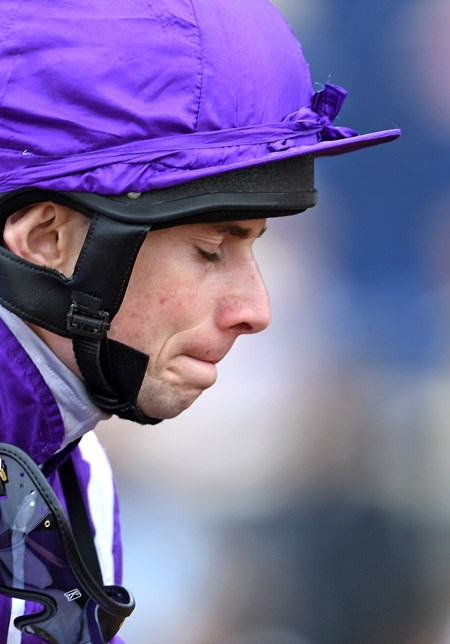 Jockey Ryan Moore after winning the Breeders' Cup Juvenile Turf on Mendelssohn