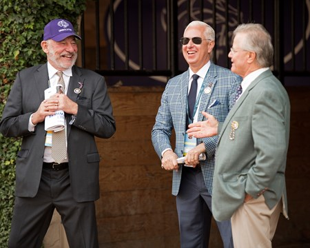 l-r, Jack Wolf, Todd Pletcher, and Bill Mott