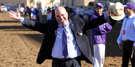 Peter Miller celebrates after Roy H won the Breeders' Cup Sprint at Del Mar on November 4, 2017.