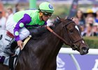 Rushing Fall and Javier Castellano win the Breeders' Cup Juvenile Fillies Turf at Del Mar