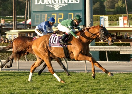Ring Weekend and jockey Drayden Van Dyke, outside, outleg Summer Front (Victor Espinoza), inside, to win the Grade I, $400,000 Frank E. Kilroe Mile, Saturday, March 7, 2015 at Santa Anita Park, Arcadia CA. © BENOIT PHOTO