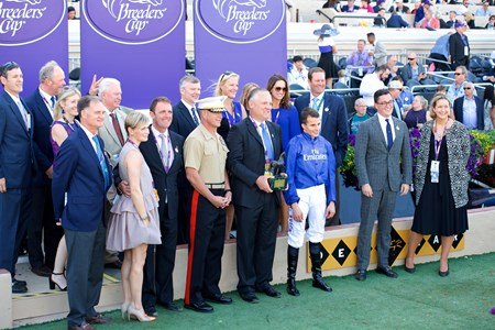 Connections of Wuheida after winning the Breeders Cup Filly and Mare Turf on November 4, 2017.