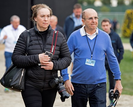 Michael Tabor, right, with Anne Marie O'Brien Breeders' Cup horses on track at Del Mar racetrack on Nov. 2, 2017 Del Mar Thoroughbred Club in Del Mar, CA.