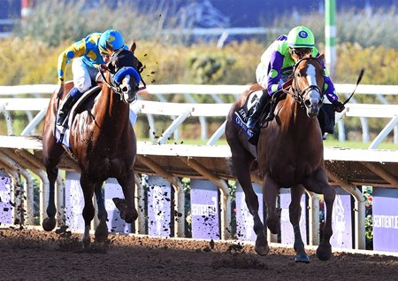 Good Magic holds off Solomini to take the Breeders' Cup Juvenile at Del Mar