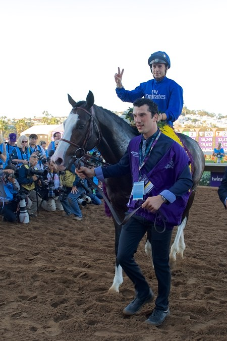 Michael Barzalona celebrates after Talismanic wins the Breeders Cup Turf on November 4, 2017