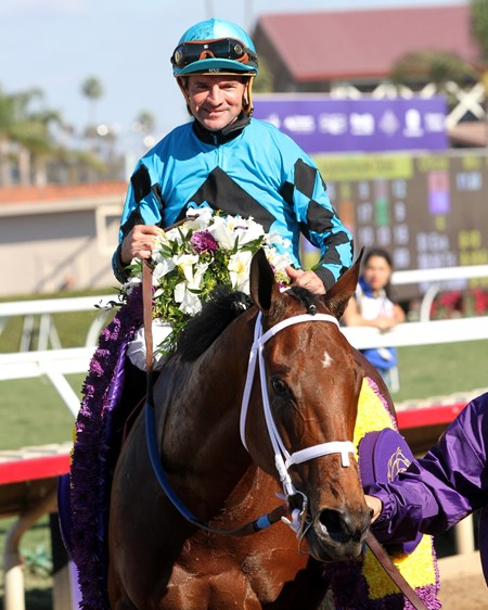 Kent Desormeaux with Roy H after winning the Breeders' Cup Sprint at Del Mar on November 4, 2017