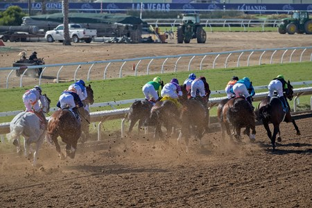 Heading down the backstretch in the Breeders' Cup Sprint at Del Mar on November 4th 2017