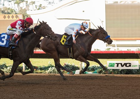 Dream Tree and jockey Drayden Van Dyke, right, outleg Midnight Bisou (Rafael Bejarano), left, to win the 2017 Desi Arnaz Stakes, Saturday, November 18, 2017 at Del Mar Thoroughbred Club, Del Mar CA.
