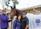 Wendy and Mick Ruis with Bolt d'Oro at Del Mar