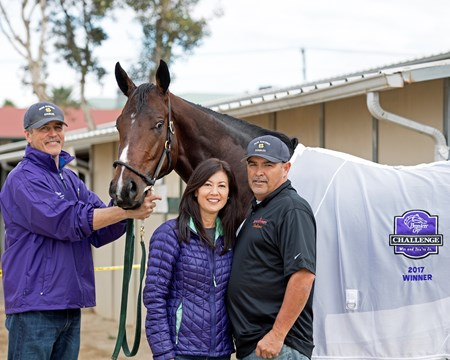 Wendy and Mick Ruis with Bolt d'Oro Breeders' Cup horses on track at Del Mar racetrack on Nov. 2, 2017 Del Mar Thoroughbred Club in Del Mar, CA.