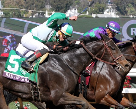 Bar of Gold with Irad Ortiz win the Breeders' Cup Filly & Mare Sprint at Del Mar on November 4, 2017.